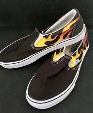 Vans Black With Flames Slip On Shoes Size Uk 7