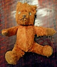 """Vintage Teddy Bear old mohair jointed Well Loved antique toy doll 15"""" creepy?"""