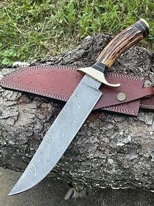 AUK 12 Custom Handmade Damascus Steel Stag Horn Handle Knife.
