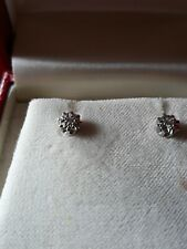 750 18Ct  White Gold Genuine Diamond Stud Earrings