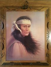 Vintage Native American Indian Glossy Prints in Rustic Handmade Wooden Frame