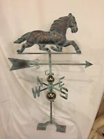 LARGE Handcrafted 3D 3Dimensional Pacing Horse Weathervane Copper Patina Finish