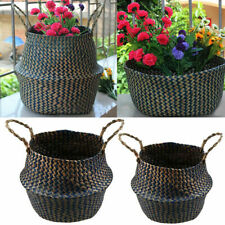 US Handmade Seagrass Belly Basket Storage Flower Plant Pot Holder Home Decor NEW