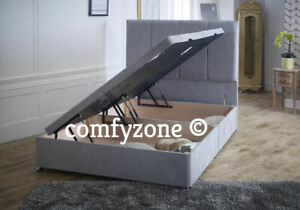 SUEDE OTTOMAN DIVAN BED BASE - GREY - BLACK - BROWN - BEIGE - LIFT UP BED