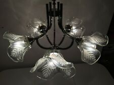 60s Mid Century SISCHE Murano Glass Tulip Chandelier Flower Pendant Lamp Mazzega
