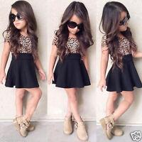 Baby Girls Kids Toddler Clothes Leopard Short Sleeve Princess Black Skirt Dress