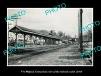 OLD LARGE HISTORIC PHOTO NEW MILFORD CONNECTICUT THE RAILROAD STATION c1960