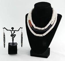 Necklace Earrings Set Handcrafted Tribal African Design Carved Wood Sponge Coral