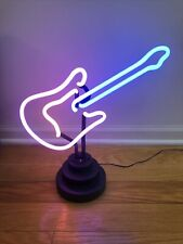 Vintage Neon Guitar table lamp light Rock and roll Music jazz on/off switch