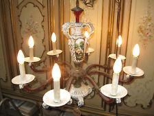 ANCIEN LUSTRE EN PORCELAINE CAPODIMONTE ET BRONZE--8 LAMPES--N°TO62