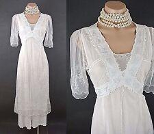 Vintage Style wedding dresses Nataya White Dress S Lace Tie Back Empire Waist