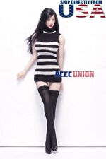 """1/6 Sexy Black & White Dress Stockings Set For 12"""" Phicen Hot Toys Figure U.S.A."""