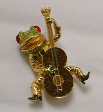 Vintage KJL Hiphop Frog Bass Player Pin, Kenneth Jay Lane Rare 'Book Piece' Mint