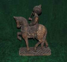 Rare islamic ottoman king suleyman the magnificient on horse figure wood