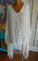 Knox Rose size s up to L poncho embroidered  long fringe v neck Fringe BOHO