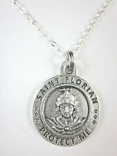 "St Florian / Firefighter Medal Italy Necklace 20"" Chain Gift Box & Prayer Card"