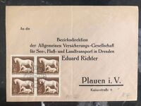 1944 Plauen Germany Cover Domestic Used Stamp Block #895
