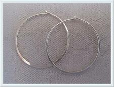 STERLING SILVER FLAT 28MM HOOP EARRINGS. Light weight. Easy Hook Closure  #70-SS