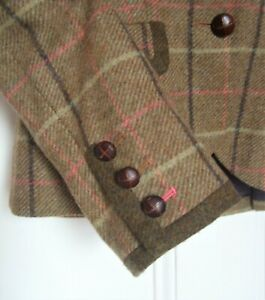 BODEN Wool Tweed Jacket SZ 10R UK Tawny brown pink Windowpane - double vent back