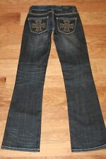 Rock & Roll Cowgirl 25 Bootcut Jeans-Dark Wash Studded Cross Pocket, Wo-2374