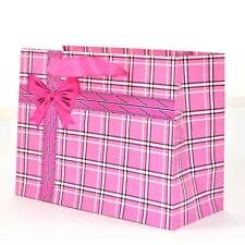 1 Large Gift Bags Pink Checks Glossy Paper bags Wedding Christmas Birthday Party