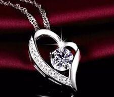 Silberkette mit Herz Anhänger 925 Sterling Silber Halskette Liebe Damen Zirkonia