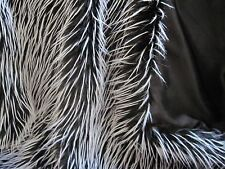 Black and White Feather Faux Fur Fabric - 1 yard piece