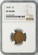 1878 Indian Cent 1c NGC XF45 BN