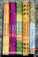 Hem Incense: Cedar-Opium-Patchouli-Sandal-White Sage Incense 100 Sticks Sampler