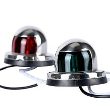 ※Pair of Stainless Steel Red and Green Bow Navigation Lights for Boats - 1 Mile※
