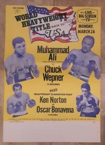 Original Muhammad Ali Chuck Wepner Fight Promo Poster Broadside Richfield 1975