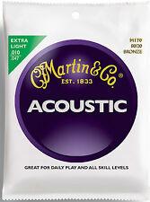 Martin M170 Extra Luz 80/20 cuerdas de guitarra acústica de bronce 10-47 Conjunto de 6