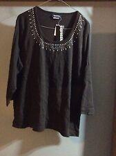 Ladies 3/4 Sleeve Tee Shirt Top Brown Scoop Neck Beaded Sequins Size 22 BNWT