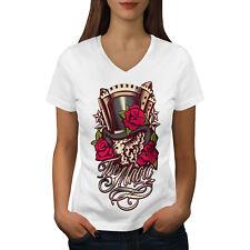 Wellcoda The Magic Rose Womens V-Neck T-shirt, Illusion Graphic Design Tee
