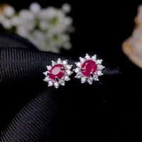 Natural Red Ruby Stud Fine Earrings 925 Sterling Silver With 18K Gold Plating