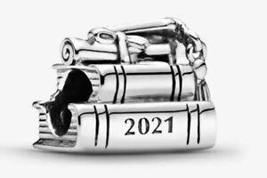 PANDORA 2021 GRADUATION BOOKS MORTAR BOARD HAT CHARM  925 STERLING SILVER