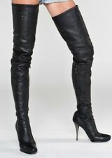 Einzelstück - AROLLO Thigh High Stiefel aus echtem Leder -gelochtes Leder G9. 39