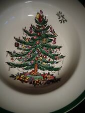 "Vintage Spode Christmas Tree ~ Rimmed Soup Bowl Green Trim ~ HTF 7 5/8"" ~ 1980"