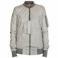 RICK OWENS $2,460 pearl leather flight coat long lambskin bomber jacket 40 NEW