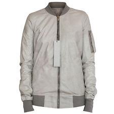 RICK OWENS $2,460 pearl leather flight coat long lambskin bomber jacket 40 NEW