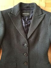 EMPORIO ARMANI, women's wool blend topcoat, green black houndstooth, S, EUC!