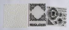 "Lace 6 x 6"" Stencil, Floral Frame Embossing Folder & Stamp Set - New."