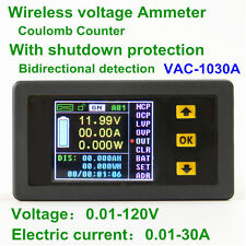 Digital LCD Voltmeter/Ammeter/Power Meter/Capacity Coulomb Counter DC 120V 30A