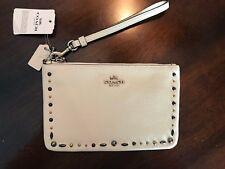 Coach Prairie Rivets Studs Leather Phone Wallet Wristlet Chalk White