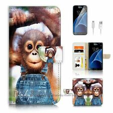 ( For Samsung S7 ) Wallet Case Cover P3908 Baby Monkey Gorilla
