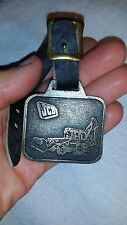 Jcb Heavy Equipment Backhoe Tractor Loader Watch Fob Brass & Leather Strap