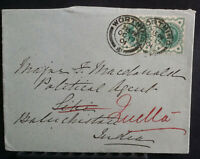 1901 QV Cover Worthing- India 1/2d Pair Sea Post Office Sibi Quetta Rear