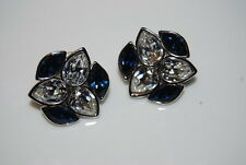 YSL YVES ST LAURENT COUTURE SILVER TONE METAL CLEAR BLUE RHINESTONE POST EARRING