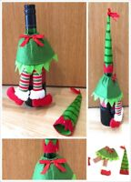 Novelty Christmas Green Elf Outfit as Wine Bottle Cover - Xmas Table Decorations
