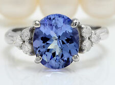 3.00CTW Natural Blue Tanzanite and DIAMOND in 14K Solid White Gold Women Ring
